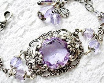 Alexandrite Lavender Blue Glass Jewel Bracelet Legacy Style Bracelet Victorian Style Jewelry