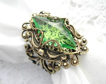 Promise of Spring - Peridot Green Vintage Glass Jewel Ring Antiqued Brass Ring Victorian Style Ring