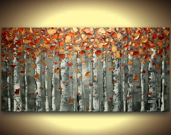 original art abstract painting acrylic oil landscape painting abstract art textured fine art birch tree woodlands Made2Order by Susanna