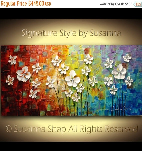 ORIGINAL Acrylic Painting wall art Flowers Impasto pallet textured artwork abstract modern landscape trendy decor palette knife by Susanna