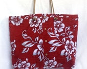 XL travel tote bag made from deep red tropical aloha shirt, large vacation beach bag, huge eco-friendly hawaiian shoulder bag