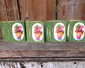 Victorian Pink Lady in Hat - Vintage Playing Cards - Ephermera
