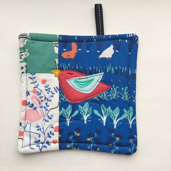 Birdy Bird Padded Patchwork Pot Holder