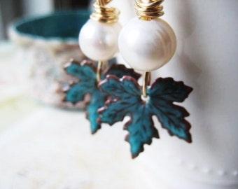 Enameled Earrings, Maple Leaves, White Pearls, 14k Gold Filled, Turquoise Peppermint, Artisan Enameled, Enameled Beads, candies64