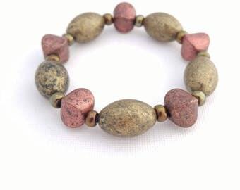 Chunky Bracelet, Big Bead Bracelet, Bronze Bracelet, Bronze Jewelry, earthy bracelet, stretchy acrylic bead bracelet, jewelry handmade