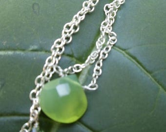 MOTHERS DAY SALE Green faceted drop on silver chain necklace
