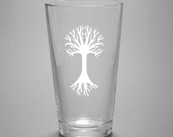 Tree Pint Glass - etched outdoorsy tree of life gifts