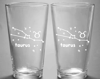 Taurus Zodiac Constellation Pint Glass