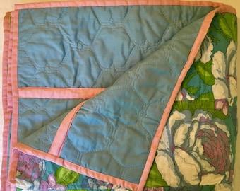 Blue Floral Vintage Strip Quilt - Mid-Century - 1970s - Boho Blanket