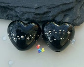 Lampwork Beads Silver Trail Black Heart, glass hearts, jet black, fine silver, jewellery making, jewelry supplies, handmade, flameworked