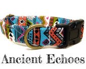 "Blue White Olive Green Salmon Black Bohemian Southwestern Dog Collar - Organic Cotton - Antique Brass Hardware - ""Ancient Echoes"""