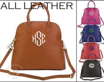 Monogrammed ALL Leather Katelyn Handbag - Leather Purses,Personalized Leather Handbags, Oversized Custom Purses, Double Handles, Mothers Day