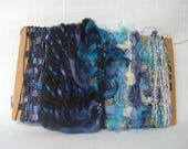 Art Yarn Bundle Blue Teal Lavender Weaving Fibers 1527