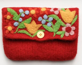 Felted bag pouch red wool purse bag hand knit needle colorful felted flowers