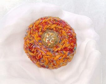 Unique Eco Silk Box - Handmade Embellished Tapestry Keepsake - OOAK Gift for Her - Sunset Swirl Flower in Tangerine Orange Multicolors