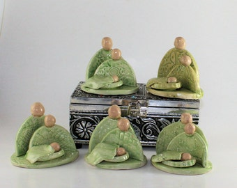 Nativity scene - handcrafted ceramic Green