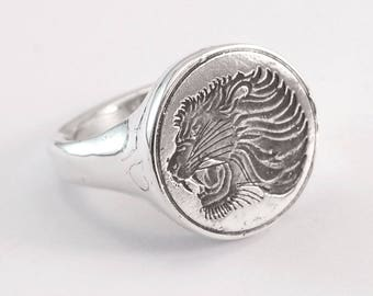 African Lion Ring - silver