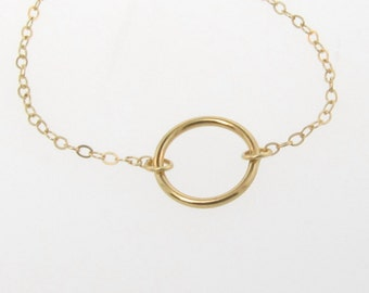Karma Necklace, 14K Solid Gold Eternity Necklace, Infinity Necklace, Dainty 10mm Solitary Circle, Great Layering Necklace