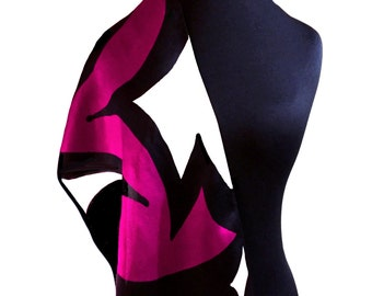Silk Scarf, Hand Painted Abstract Silk Scarf in Purple, Black