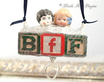 BFF Best Friends Ornament Altered Art Doll Ornament Mixed Media One of a Kind Girl Friend Gift Hanging Art Doll