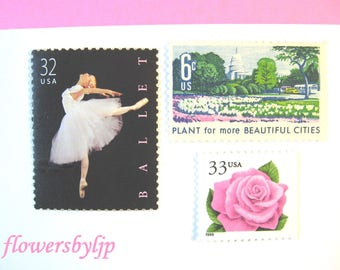 Wedding Postage Stamps, Ballerina - Pink Rose - Pink + Yellow Flowers Stamps, Mail 20 Floral Romantic Invitations 2 oz 70 cts postage ballet