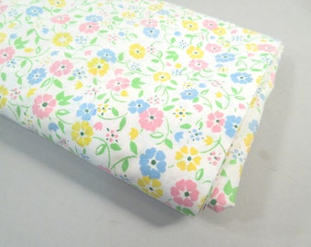Vintage queen flat sheet, mini floral print, small colorful flowers, flower sheet, 1960s mid century modern