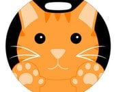 Luggage Tag - Doubled Pawed Orange Kitty - 2.5 inch or 4 Inch Round Plastic Bag Tag