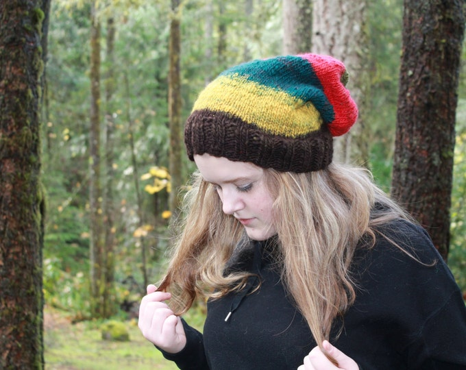 Hand spun and Knit Merino Wool Slouchy Hat.  Warm and Cozy. One of a Kind.