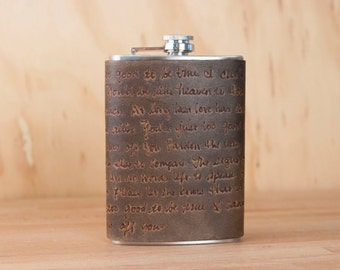 Personalized Leather Flask - Custom Wedding Flask in the Smokey Pattern in Antique Black - 8oz