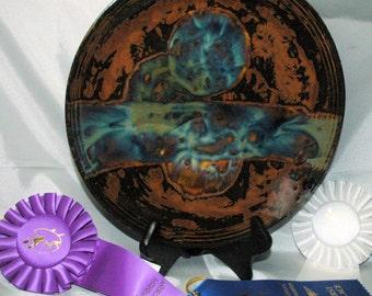 Handcrafted 11 inch Stoneware Decorative Foodsafe Platter with Original Glaze Design by FireHorse Designs