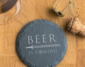 For Dad 'Beer Is Coming' Natural Slate Coaster