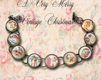 A Very Merry Vintage Christmas, bracelet,original art, gift box,reto Christmas, Christmas jewelry, Santa,deer, reindeer, pink,angels