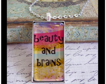 Beauty & Brains, original art, gift boxed and READY to SHIP, glitter, pink and white, graduation gift, birthday pendants,gifts for girls
