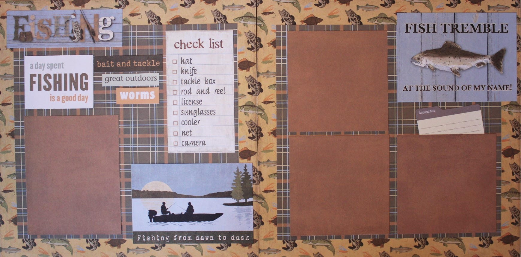 How to add scrapbook pages - Fishing Two 12x12 Premade Scrapbook Pages Just Add Photos