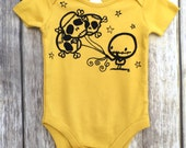 CLEARANCE Loverocky mustard yellow Zombie Skull Balloons (3 months) cute punk baby vest babygrow
