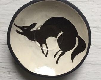 Small Ceramic Coyote Plate
