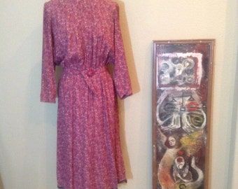 Vintage 70s burgundy red flower print dress ~ ditsy flowers ~ calico ~ bohemian