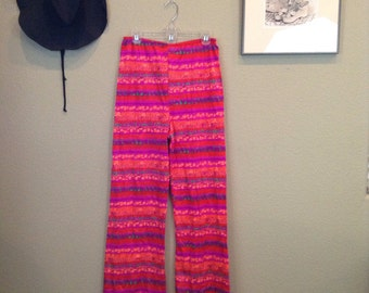 Vintage 60s psychedelic striped  bellbottoms ~ hippie ~ lounge pants