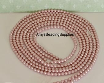 Powder Rose Swarovski 3MM Glass pearl beads, Style 5810  (100 Beads)