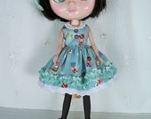 Blythe Doll Dress,  Blythe Dress. Aqua n Hat Girls