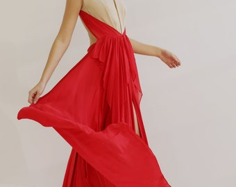 Sample SALE  red and beige silk long evening gown with open back