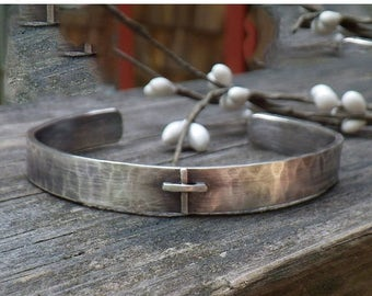 20% OFF TODAY Old rugged cross sterling silver cuff bracelet