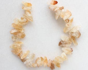 "Natural Citrine Top Drilled Rough Nugget Beads - 15.5"" strand"