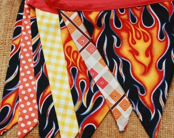 ENTIRE Store On SALE Flames Fabric Bunting, 7 MEDIUM Flags, Boy Themed Banner, One of a Kind, Ready To Ship.  Photo Prop, Nursery, Boy's Roo