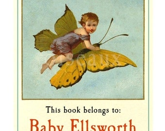 Butterfly Baby Personalized Bookplates - Baby Shower - Given With Love From, Write In Your Name, Lovely Shower Gift
