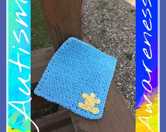 Light Blue Washcloth/Dishcloth with Yellow Puzzle Piece