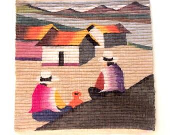 1980s Fiber Art Wall Hanging - Peruvian Landscape