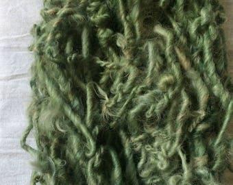 Druid Dreads, 42 yards handspun yarn, sage green art yarn, lockspun yarn, curly handspun yarn, bulky art yarn, chunky green yarn
