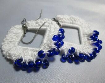 Boho Cobalt Blue and White Hand Crocheted Earrings
