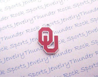 3 OKLAHOMA SOONERS Charms Large Antique Silver Plated with crimson red enamel University OU logo College Pendants for Keychains